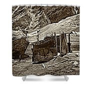 Comfort Station Sepia Shower Curtain