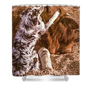 Comforting The Heifer With A Broken Leg Shower Curtain
