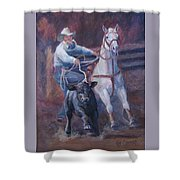 Comin At Ya      Calf Roping Painting Shower Curtain