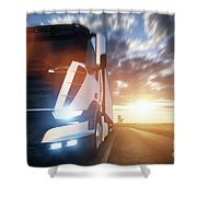 Commercial Cargo Delivery Truck With Trailer Driving On Highway At Sunset. Shower Curtain