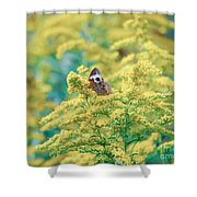 Common Buckeye Butterfly Hides In The Goldenrod Shower Curtain