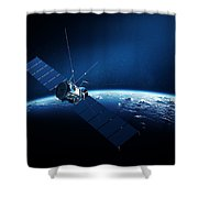 Communications Satellite Orbiting Earth Shower Curtain