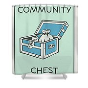 Community Chest Vintage Monopoly Board Game Theme Card Shower Curtain