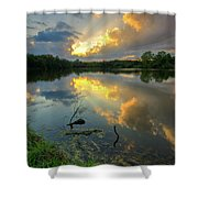Community Lake #8 Sunset Shower Curtain