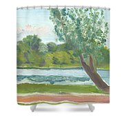 Como Lake By The Pavilion Shower Curtain