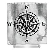 Compass-black Shower Curtain