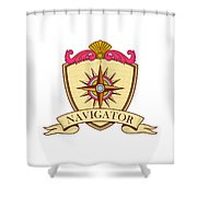 Compass Navigator Coat Of Arms Crest Retro Shower Curtain
