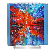 Composition # 2. Series Abstract Sunsets Shower Curtain