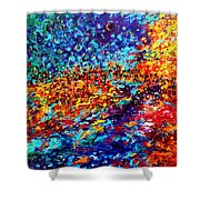 Composition # 5. Series Abstract Sunsets Shower Curtain