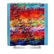 Composition # 6. Series Abstract Sunsets Shower Curtain