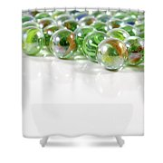 Composition With Green Marbles On White Background Shower Curtain
