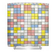 Composition With Grid Ix Shower Curtain