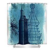 Compton Blueprint Shower Curtain