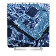 Computer Boards And Chips Lie In A Pile Shower Curtain