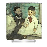 Comte Le Pic And His Sons Shower Curtain by Edgar Degas