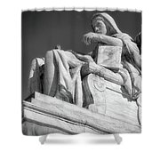 Comtemplation Of Justice 1 Bw Shower Curtain