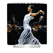Concentracion Del Funcionamiento Del Flamenco Shower Curtain
