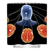 Conceptual Image Of Multi-brain Shower Curtain