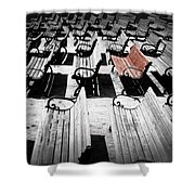Concert Benches Shower Curtain by Perry Webster