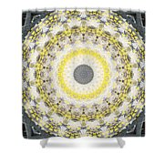 Concrete And Yellow Mandala- Abstract Art By Linda Woods Shower Curtain