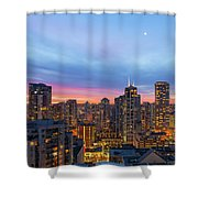 Condominium Buildings In Downtown Vancouver Bc At Sunrise Shower Curtain