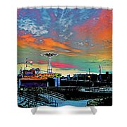 Coney Island In Living Color Shower Curtain