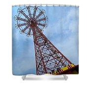 Coney Island Parachute Jump 03 Shower Curtain