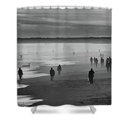 Coney Island Walkers Shower Curtain by Eric Lake