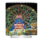 Coney Island's Wonderous Wonder Wheel In Neon Shower Curtain