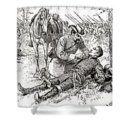 Confederate General John Brown Gordon Assists Wounded Union General Francis Channing Barlow Shower Curtain