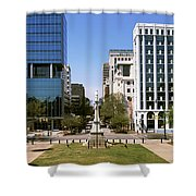 Confederate Monument With Buildings Shower Curtain
