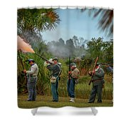 Confederate Rifle Fire Shower Curtain