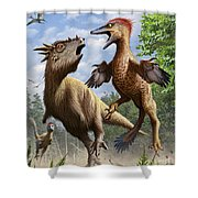 Confrontation Between Pectinodon Shower Curtain