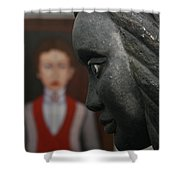 Confrontation Of Two Artworks Shower Curtain