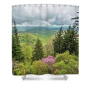 Conifers And Blooms Shower Curtain