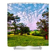 Conley Road Meadow, Oaks, Barn, Spring  Shower Curtain