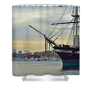 Uss Constellation And Domino Sugars - Sloop Of War Warship In Baltimore's Inner Harbor - Us Navy Shower Curtain