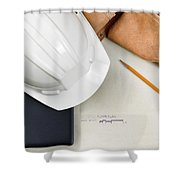Construction Contractor Tools Resting On Top Of Blue Print Cad D Shower Curtain