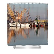 Construction Of Oil Platform With Boats Shower Curtain