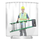Construction Worker Carrying A Ladder Shower Curtain