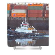 Container Ship And Tug Shower Curtain