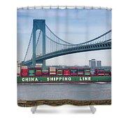 Container Ship Passing The Verrazano Bridge Shower Curtain