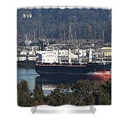 Container Ship Ready To Load More Lumber Shower Curtain