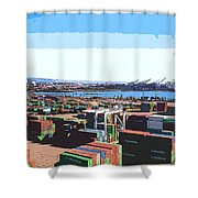 Container Terminal Shower Curtain