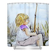 Contemplating Fishing Shower Curtain