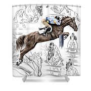 Contemplating Flight - Horse Jumper Print Color Tinted Shower Curtain