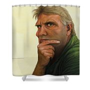 Contemplating The Blank Page Shower Curtain by James W Johnson