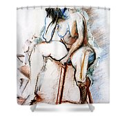 Contemplation - Nude On A Stool Shower Curtain