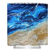 Contemporary Abstract Beach Nacl Shower Curtain