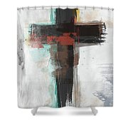 Contemporary Cross 1- Art By Linda Woods Shower Curtain